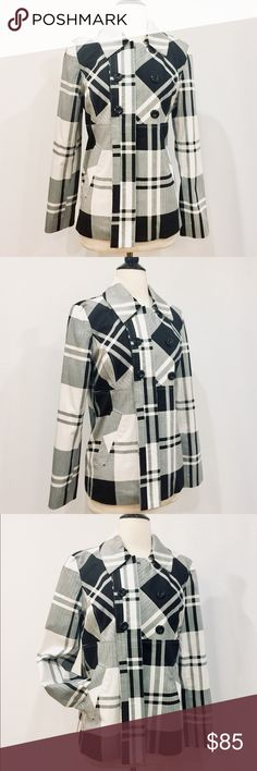 """🔆 SANDRO Black & White Plaid Flyaway Blazer NWOT Graphic statement! One button closure at collar, faux double breasted style with bold buttons. Fully lined, slash pockets and back yoke. The perfect topper. Can be worn over a LBD, with a tee and leggings, endless positions.Never worn! Body 97% Cotton 3% Elastane Lining 100% Polyester Dry Clean Only 40"""" Bust 40"""" Waist 16"""" Shoulder 24"""" Sleeve Length 24 1/2"""" Overall Length Sandro Jackets & Coats Blazers"""