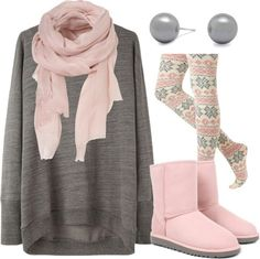 Grey and Pink.. Thats where it's at :) - Click image to find more Women's Fashion Pinterest pins