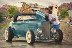 Sundays In The Backyard ............ Hot Rod Artwork by Rat Rod Studios, www.RatRodStudios.com.