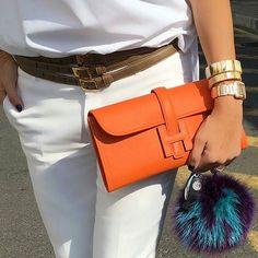 hermes orange clutch bag square rectangular shaped