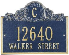 Acanthus Two Line Wall Address Plaque - standard 2 line, Navy Blue by Home Decorators Collection. $88.99. Acanthus Two Line Wall Address Plaque - Bring Some Flair To Your Front Yard And Make Your Address Both Easily Seen And Admired With The Acanthus Two-Line Wall Address Plaque. Our Personalized Plaques Are Handcrafted Of Rust-Free Cast Aluminum With A Baked-On Finish To Withstand The Elements And Keep Your Marker Looking Marvelous. Dress Up Your Digits Today!...