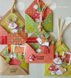 Cute—small woodland animals—Christmas gift tags❣ Eline Pellinkhof  These would make adorable little fun mail to send to children!