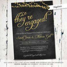 Chalkboard Engagement Party Invitation by JoyPribishDesigns