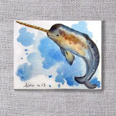 ooak-Narwhal Original ACEO painting- buy 3 get 1 free on Etsy, $4.50