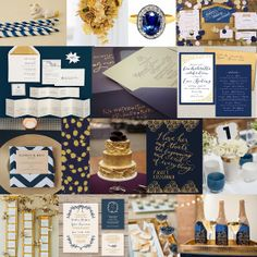 Navy and Gold wedding inspiration moodboard from Forest and Flourish. Winter wedding - sparkling, christmas. forestandflourish.blogspot.co.uk