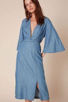 Vestido Jeans Quimono - Off Premium Outer Shoes, All Jeans, Wrap Dress, 36, Dresses, Products, Fashion, Jean Dress Outfits, Vestidos