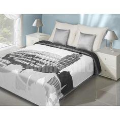 Bielo sivý prehoz na posteľ vzor pamiatky Furniture, Home Decor, Design, Products, Alcove, Gray, Decoration Home, Room Decor