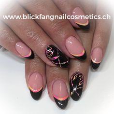 Mandeln schwarz mit Neonpigmente Neon, Nails, Beauty, Almonds, Black, Finger Nails, Ongles, Neon Colors, Beauty Illustration