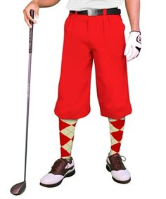 Mens traditional Red solid-color golf knickers (plus fours) made of 100% microfiber gabardine. Available in 20 solid colors.