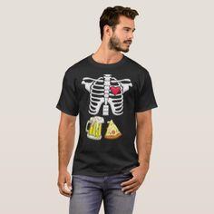Beer and pizza Pregnant Skeleton Halloween Shirt - Halloween happyhalloween festival party holiday