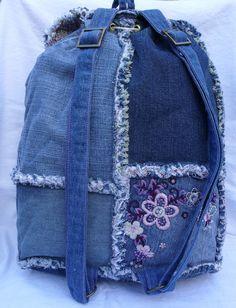 Denim patchwork backpack от poppypatchwork на Etsy