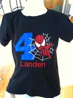 Hey, I found this really awesome Etsy listing at http://www.etsy.com/listing/130736802/spiderman-birthday-shirt