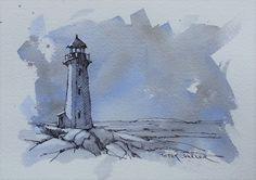 Peggys Cove Lighthouse, 5x7 Fine Art Original Watercolor Peter Sheeler ocean | eBay