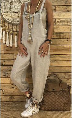 Women's Plus Size Cotton Linen Straight Jumpsuits 2018 Autumn Sleevele – cigauy