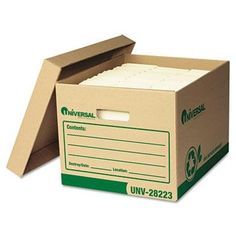 Universal One  Recycled Record Storage Box LetterLegal 12 X 15 X 10 Kraft 12Carton Product Category File Folders Portable  Storage Box FilesRecord Storage Boxes >>> Want additional info? Click on the image. #CraftRoomOrganization