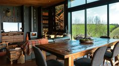 """Yolande says her styling, with its dark wood and natural textures, is rustic and """"a bit lodgy-looking""""."""