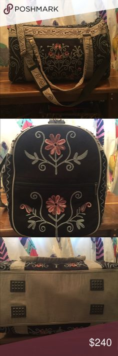 Vintage Addiction weekend duffel bag Weekender made with suede and embroidery.  Black and gray with some pink and periwinkle in the embroidery.  Never used.  See the last picture for product specifics. ❤️ Vintage Addiction from another time Bags Travel Bags