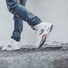 "SHOP: Supreme X Nike Air Jordan 5 Retro ""White"" | Available at kickbackzny.com."