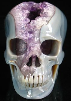 Skull carved from amethyst crystal geode.