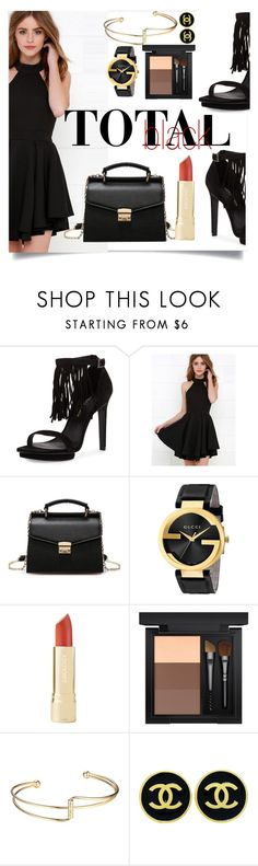 """""""Total Black Summer"""" by j-ivnv ❤ liked on Polyvore featuring Pelle Moda, Gucci, MAC Cosmetics, Chanel, black and totalblack"""