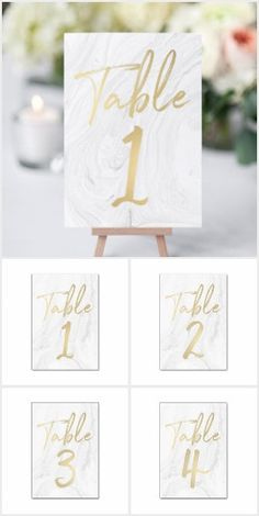 Marble and Gold Script Wedding Table Number Cards