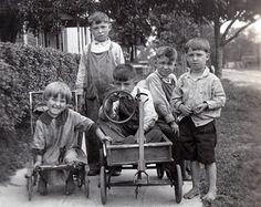 Our Gang 4 Boys and Girl WAgon Playing Kids Children vintage photo Reprint Photography