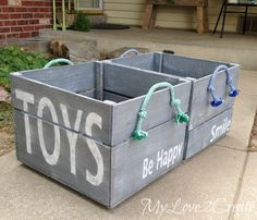 DIY Storage Crate- minus the stupid rope dog toy handles. Would do something much better