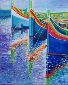 ARTFINDER: Reflections, Maltese boats by Rod Bere - Inspired by many happy hours spent overlooking a harbour in Malta