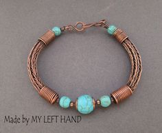 Copper wire viking knit bracelet with turquoise beads. This bracelet is made with double viking knit pattern. its fittable for medium wrist size: 7 (18 cm) Plain viking rope has a diameter of 0.6cm (0.22). The pure copper wire is antiqued the bracelet in a lovely umber color,
