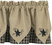 """Sturbridge Black Embroidered Star Point Valance by Primitive Home Decors. $37.95. 100% Cotton Fabric. Sturbridge Black Embroidered Star Point Valance 72"""" Wide x 15"""" Long 100% Cotton Lined 1-1/2"""" header and a 2"""" rod pocket. Shirr on conventional curtain rod. Priced and sold individually. Designed and manufactured by Par"""