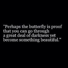 Perhaps the butterfly is proof that you can go through a great deal of darkness yet become something beautiful. :)
