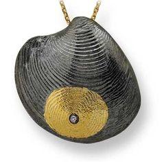 Pırlanta 18 Ayar Altın Parmak İzi Midye Figürlü Kolye Delmy, özel tasarım kolye, altın kolye, parmak izi koleksiyonu