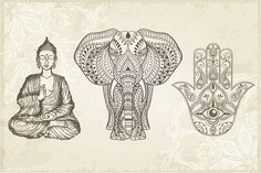 Hamsa, Elephant and Sitting Buddha by Fafarumba on @creativemarket