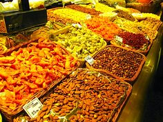 Dried fruits and nuts at La Bocqueria in Barcelona.