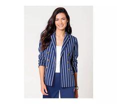 Sako s dlhými rukávami Women Wear, Blazer, How To Wear, Jackets, Outfits, Fashion, Bold Stripes, Full Sleeves, Silhouette