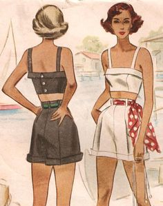 Shorts, Bustier or Crop Top Sewing Pattern Vintage 1945 Bust 34 McCall . Moda Vintage, Vintage Mode, Vintage Diy, Vintage Outfits, Vintage Dresses, Vintage Dress Patterns, Clothing Patterns, Shirt Patterns, 1940s Fashion