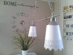 nice pendant lamp using plant pots as lamp shades #IKEAhacking