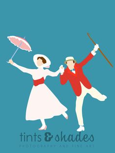 Bert and Mary Poppins 8x10 Minimalist Poster by TintsShadesFineArt, $10.00