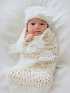 Beautiful crochet #cocoon and hat pattern.  Lovely, soft and sweet baby set. Perfect photo prop pattern. This easy pattern works up very quickly using worsted weight yarn.  ...