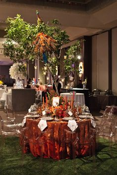 Copper Embossed Chiffon linen and Amber Victoria Ghost Chair, all Resource One, exclusively at P. Reception Design, Reception Ideas, Wedding Reception, Table Designs, Autumnal, Tabletop, Tablescapes, Linens, Florals