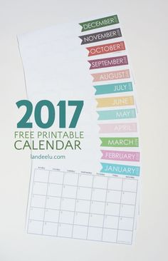 Download this free printable monthly calendar and get organized for the entire year of 2017!