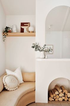 An eclectic tiny studio in peachy hues