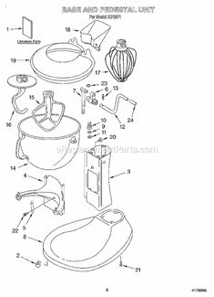 Useful diagram showing the gear assembly of a KitchenAid