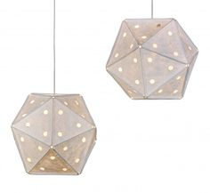 Inspired by kites and mathematics.  'Holes' is a light made out of 20 triangles, 30 bars, 12 connectors and 57 small holes, nothing more and nothing less.