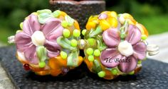 Summer Love Handmade Lampwork Glass Floral Bead Set SRA by TLBeads, $17.00