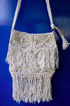 True VINTAGE 70'S MACRAME Fringe HIPPIE CHIC BOHO Shoulder Hand Bag Handmade #Handmade #ShoulderBag