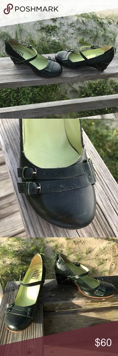 Harlot Mary Jane/Wedge Harlot shoes are the art of fashion. I'll let the pictures do the talking here! The color is the deepest forest green. This shoe is stunning to say the least. The leather is soft. The shoe is very durable & comfortable. The designers operate out of Spain. Harlot Shoes Wedges