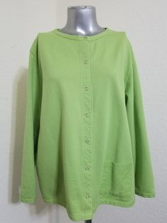 Denim & Co. Women's Lime Green Button Down Front Sweater Size 1X 100% Cotton  | Clothing, Shoes & Accessories, Women's Clothing, Sweaters | eBay!