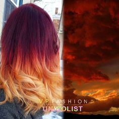 Wonderful sunset ombre hairstyle from UniColist hair artist #UCK003