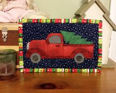 Christmas Tree Mug Rug-pic ref only. easy pattern to replicate with appliqué. Leave off the tree